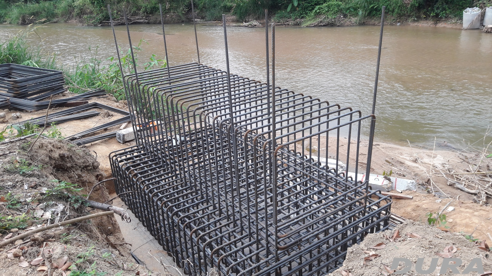 Steel reinforcement cage for abutment.