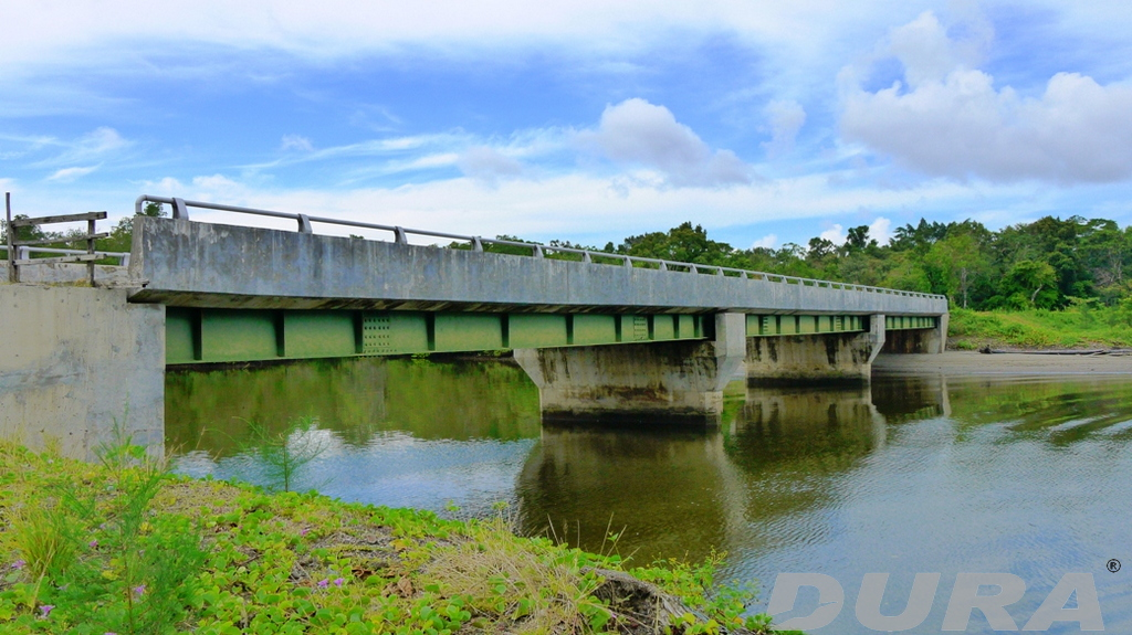 A 75m long steel composite bridge recently built on the island.