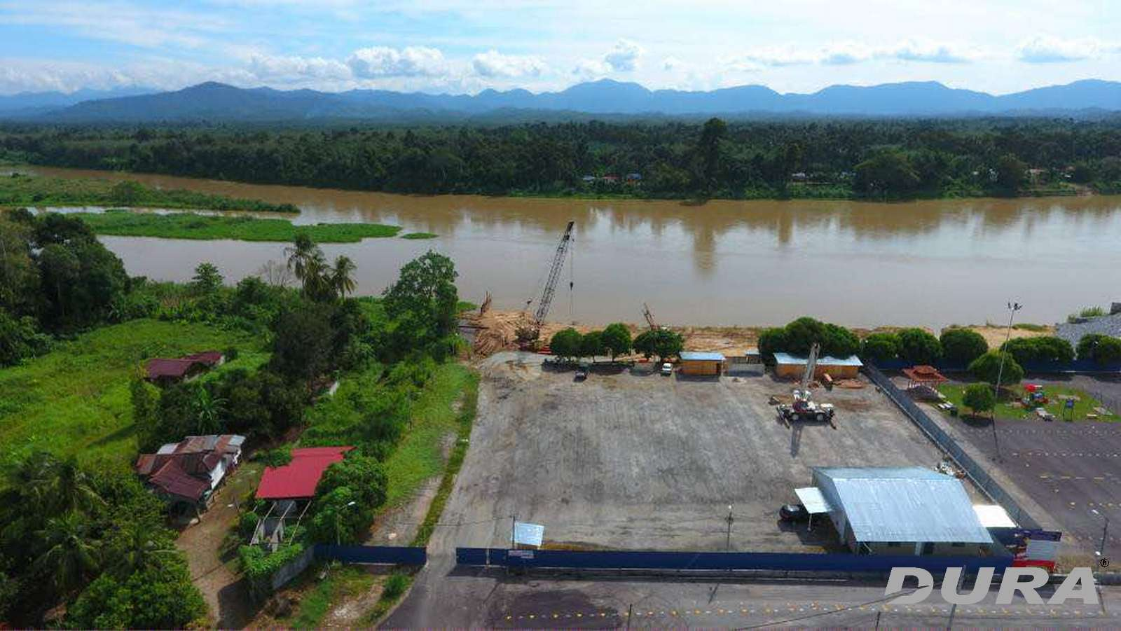 The bridge project site crossing to Sungai Perak.